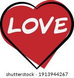 heart shape icon with wort love ... | Shutterstock .eps vector #1913944267