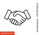 shake hand line icon. simple... | Shutterstock .eps vector #1913945611
