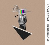 Small photo of New ideas. Renaissanse man headed by old TV isolated on background. Negative space to insert your text. Modern design. Contemporary colorful and conceptual bright art collage, art collage. Visual art.