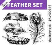 feather set. hand drawn sketch  ... | Shutterstock .eps vector #191400899