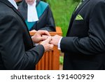 a man putting a ring on another ... | Shutterstock . vector #191400929