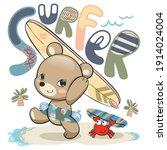 teddy bear cartoon carrying... | Shutterstock .eps vector #1914024004