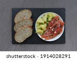 slices of trout on a white... | Shutterstock . vector #1914028291