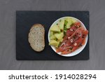 slices of trout on a white... | Shutterstock . vector #1914028294
