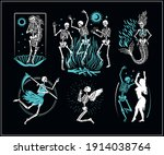 skeletons  logos collection for ... | Shutterstock .eps vector #1914038764