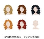 set of female hair style.... | Shutterstock .eps vector #191405201