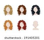 set of female hair style.... | Shutterstock .eps vector #191405201