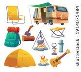 summer camp with tent  bonfire  ...   Shutterstock .eps vector #1914075484