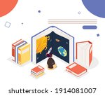 woman reading books of universe ... | Shutterstock .eps vector #1914081007