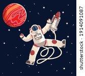 astronaut in suit and helmet...   Shutterstock .eps vector #1914091087