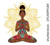 yoga girl. african american... | Shutterstock .eps vector #1914099184