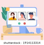 communicates with a friends...   Shutterstock .eps vector #1914113314