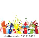 children hands in colorful... | Shutterstock .eps vector #191411417