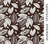 seamless pattern of cocoa beans ... | Shutterstock .eps vector #1914125491