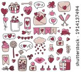valentines day doodle set with... | Shutterstock .eps vector #1914137494