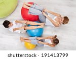 woman and kids exercising... | Shutterstock . vector #191413799