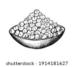 bowl with chickpeas. handful of ... | Shutterstock .eps vector #1914181627