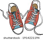 colorful fashion sneakers...   Shutterstock .eps vector #1914221194