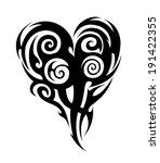 heart tribal tattoo. ink... | Shutterstock . vector #191422355