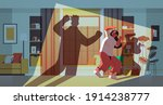 shadow of angry husband... | Shutterstock .eps vector #1914238777