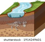 soil layers with dinosaur... | Shutterstock .eps vector #1914249601