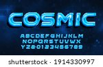 cosmic alphabet font. digital... | Shutterstock .eps vector #1914330997