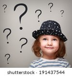 happy thinking kid girl in hat... | Shutterstock . vector #191437544