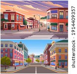 street of town day and evening... | Shutterstock .eps vector #1914409357
