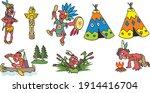 set of cartoon indians  hand... | Shutterstock .eps vector #1914416704
