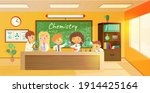 chemistry lesson in classroom.... | Shutterstock .eps vector #1914425164