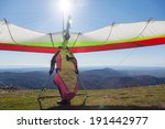 Hang Glider Launching Off A...