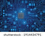 cpu chip on motherboard  ...   Shutterstock .eps vector #1914434791