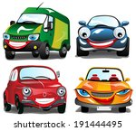 Smiling Car - 4 cartoons of Smiling Cars in 4 different colors - stock vector