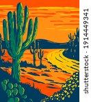 Saguaro Cactus At Dusk In...