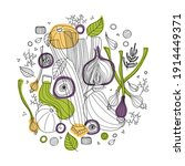 Round Of Vegetables Vector...