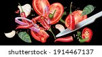red chili pepper cut of pieces... | Shutterstock .eps vector #1914467137