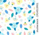 floral seamless pattern. hand...   Shutterstock .eps vector #1914513901