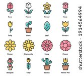 flower icons color vector... | Shutterstock .eps vector #1914564994