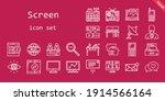 screen icon set. line icon...