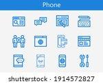 premium set of phone line icons....