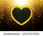 heart shape gold frame. vector...   Shutterstock .eps vector #1914717331