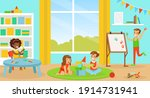 cute boys and girls playing ... | Shutterstock .eps vector #1914731941