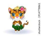 A Cute Cartoon Tiger With...