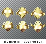 gold banner ribbons bages.... | Shutterstock .eps vector #1914785524