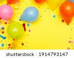 colorful balloons and confetti... | Shutterstock . vector #1914793147
