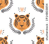 simple hand drawn tiger heads... | Shutterstock .eps vector #1914803854
