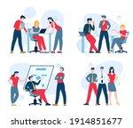 teamwork concept  flat vector... | Shutterstock .eps vector #1914851677