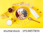 Healthy Breakfast On A Yellow...