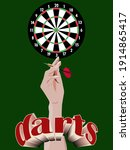 dart board with a hand holding... | Shutterstock .eps vector #1914865417