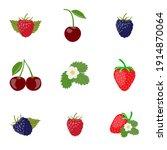 set of berries. cherry ... | Shutterstock .eps vector #1914870064